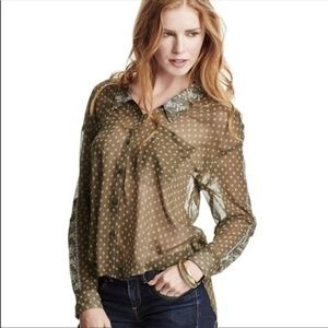    FREE PEOPLE    Military Green Easy Rider Blouse